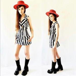 VTG 80's Stripe Mini Shirt/Dress, Fredericks Sz S